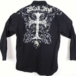 Men's Blak Ink Button Up Long Sleeve Shirt     J18